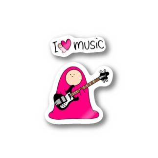 I LOVE MUSIC - アイラヴミュージック エレクトリックベースVer.  Stickers