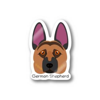ジャーマンシェパードの顔ステッカー Stickers