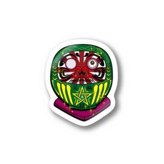 カラフルなダルマ緑 Stickers