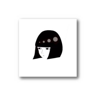 黒髪ボブのオンナノコ Stickers