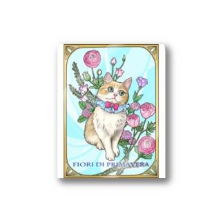 Atelier Heureuxの春の花々と猫 Fiori di Primavera Ⅰ Stickers
