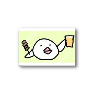 乾杯の音頭をとる白文鳥です Stickers