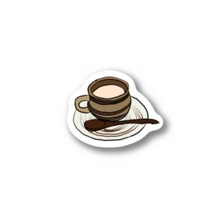 ベタ塗りコーヒーカップ Stickers