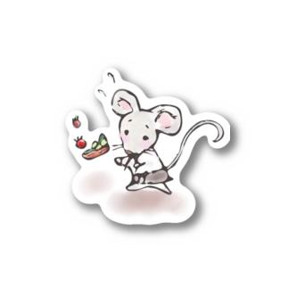 あかえほ│赤ちゃん絵本のWeb図書館 公式グッズ販売のねことねずみの喫茶店【あかえほ公式】 Stickers