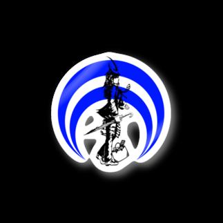 切り絵ariの侍-BLUE Stickers