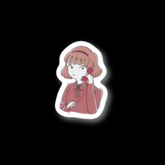 すいみんの赤い電話と女の子 Stickers
