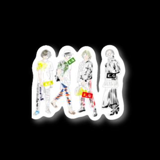 !かがさん!(秋田県のYouTuber)の4人の人 Stickers