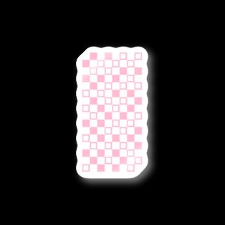 Red berry treeのランダムブロックチェック ピンク Stickers
