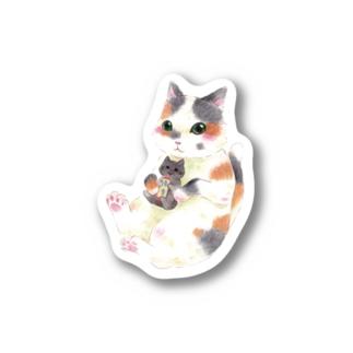 ぬいぐるみぎゅっ 三毛猫 Stickers