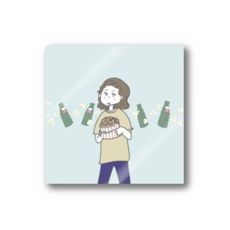 ポップコーンと映画が好きな女の子。 Stickers