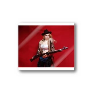 ドール写真:ライフル銃を持つブロンドの狩人 Doll picture: Blonde hunter with type38 rifle gun Stickers