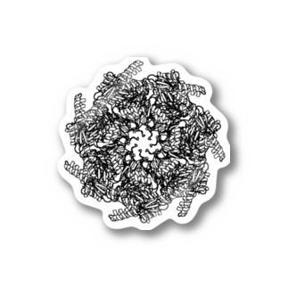 GroEL-GroES複合体 モノクロ Stickers