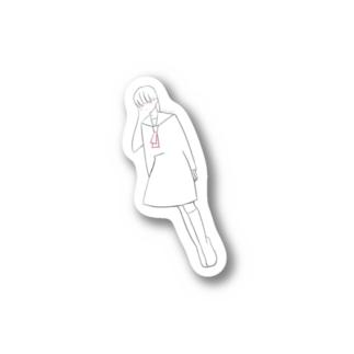 斜めの女の子(セーラー)_ステッカー Stickers