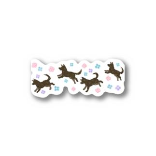 紫陽花と甲斐犬 Stickers