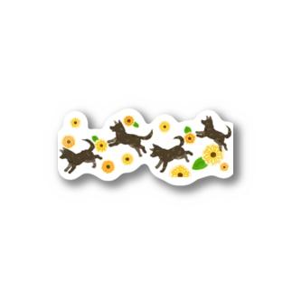 向日葵と甲斐犬 Stickers