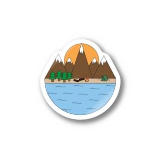 キャンプ Stickers