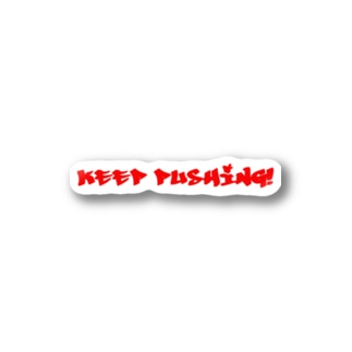 KEEP PUSHING!-red Stickers