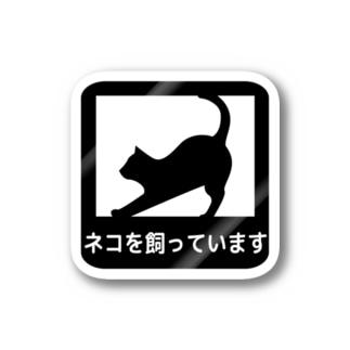 何でもないところの「ネコを飼っています」ステッカー Stickers