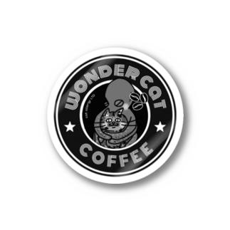 wonder catのwonder cat coffee/モノトーン Stickers