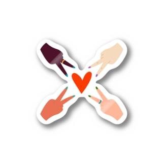 SANKAKU DESIGN STOREの色とりどりの友だちとハートマーク。 Stickers
