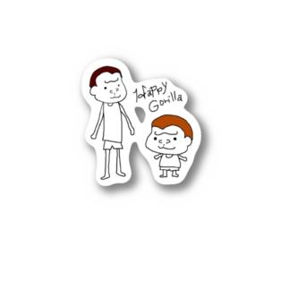 HappyGorillaのハッピーゴリラ 凸凹コンビ Stickers