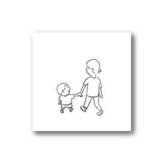 母と息子 ほっこりfamily いっしょにお散歩 Stickers