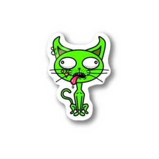 ミドリイロのネコ Stickers