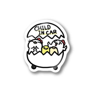 CHILD IN CAR しろ Stickers