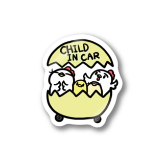 CHILD IN CAR パステルイエロー Stickers