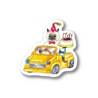 誕生日を祝うネコ Stickers