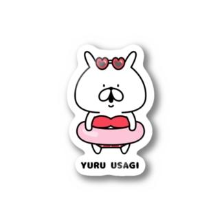 ゆるうさぎ 赤色ビキニ Stickers