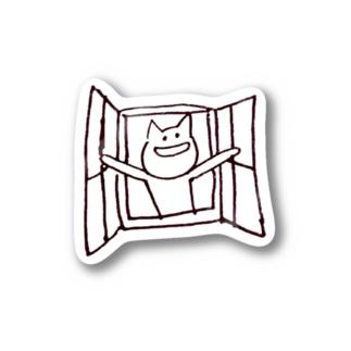 心の窓を開くねこ Stickers