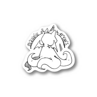ちょぼろうSHOPの冒涜的な猫ルフ(背中色なし) Stickers