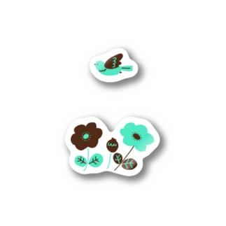 チョコミントカラーのお花 Sticker
