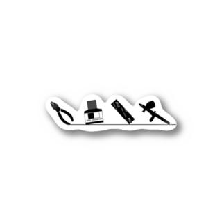 仮組み→接着→ヤスリがけ→塗装 Stickers