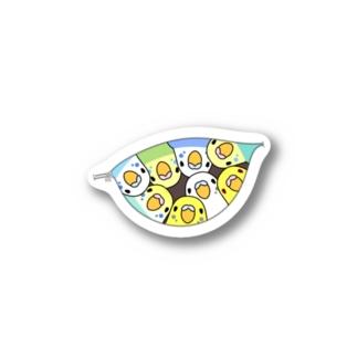 三密です!むちむちセキセイインコさん【まめるりはことり】 Stickers