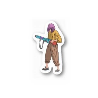 水鉄砲を持つ女の子2 Stickers