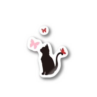 猫と蝶(赤) Stickers