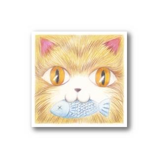 魚をくわえた猫 Stickers