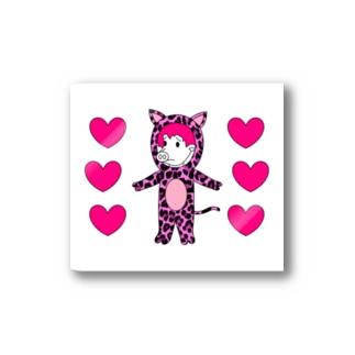 ハートフルピンクヒョウピッグ Stickers