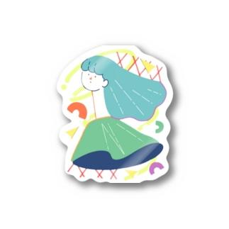 首なが美人なレディ Stickers