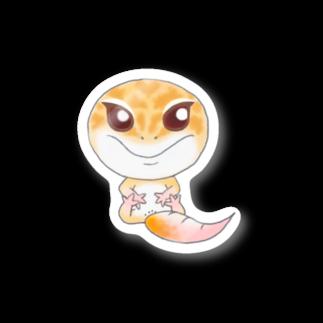 Zipply × Hachucliのおすわりレオパ(ラプター系)ステッカー