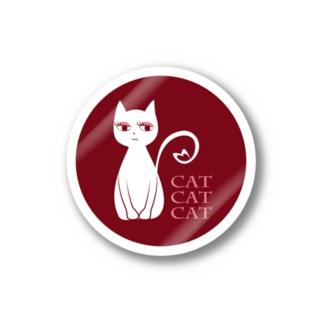 冷めた猫ステッカー(赤) Stickers
