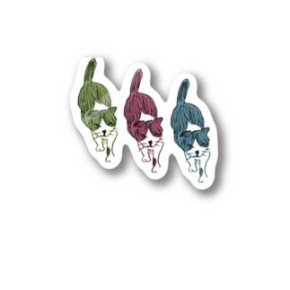 あかべこ太郎次郎の血統書付きねこ 歩く Stickers