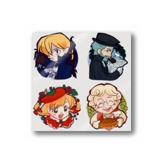 ヨーロッパ風ミニキャラ×4 Stickers