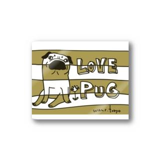 LOVE PUG BORDER Stickers