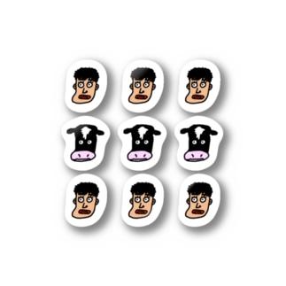 みのちゃんと牛(シンプル) Stickers