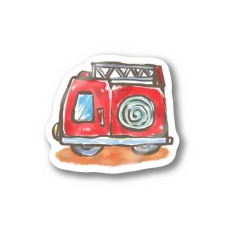 YUMIイラスト工房 オフィシャルののりもの 消防車 Stickers
