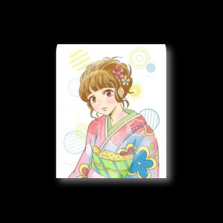 曄月 陽(はなつき よう)のpopな着物の女の子 ステッカー