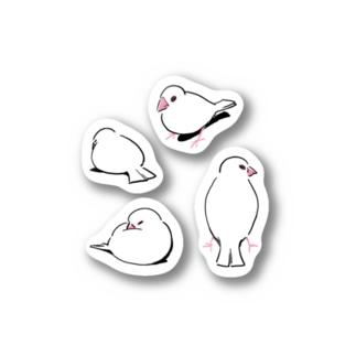 文鳥ステッカー Stickers